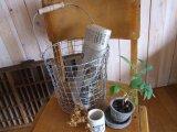 木の持ち手 ワイヤーバスケット(バケツ型)